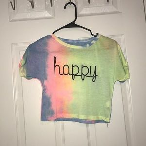 Tye dye 'happy' see through crop top shirt